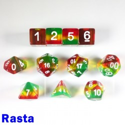 Aurora Gem Rasta 11 Dice Set