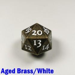 D20 Metal Aged Brass/White Spindown