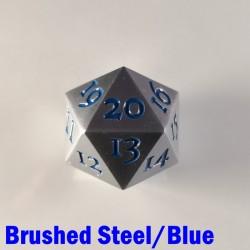 D20 Metal Brushed Steel/Blue Spindown