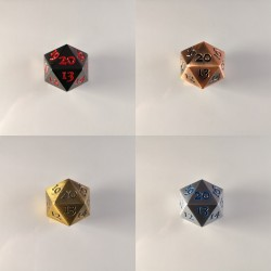 D20 Metal set of 4 Spindown