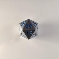 D20 Metal Brushed Steel / Blue Spindown
