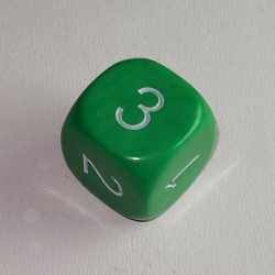 16mm 6 Sided D3 Opaque Green