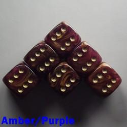 "15mm D6 ""Gold Mist"" Amber/Purple"