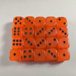 15mm D6 Orange Glow in The Dark Dice