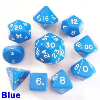 Opaque Blue 10 Dice Set
