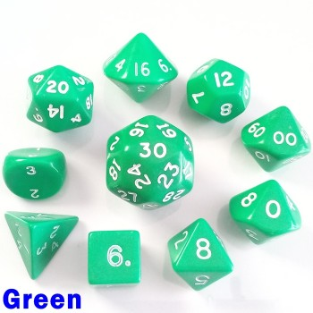 Opaque Green 10 Dice Set