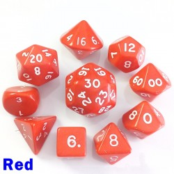Opaque Red 10 Dice Set