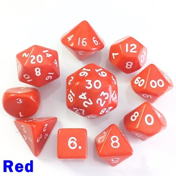 Opaque Red 10 Dice Set