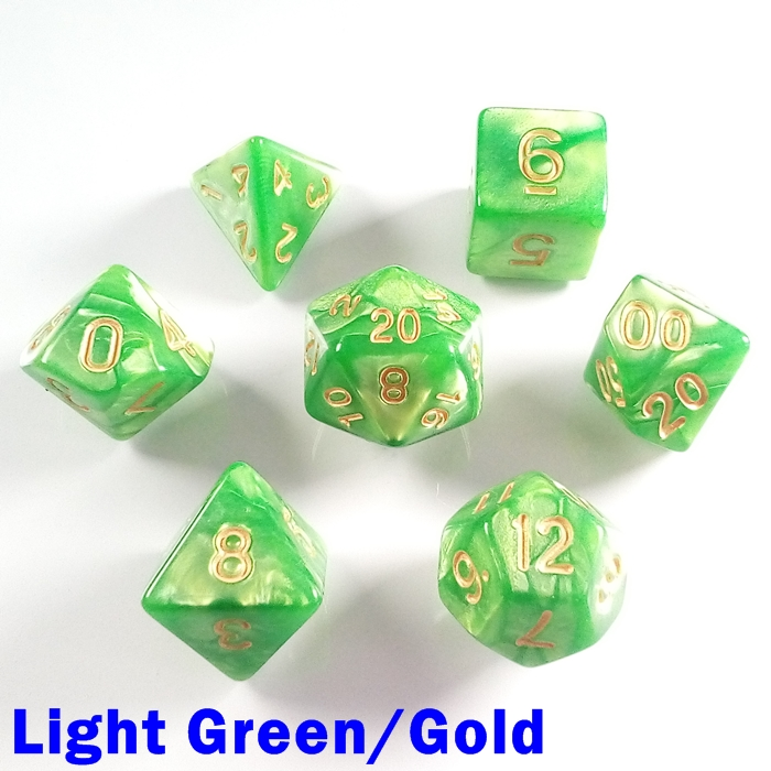 Green Pearl Dice Set Polyhedral DND Dungeons and Dragons Pathfinder