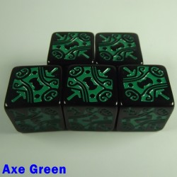 Viking Axe Green 16mm D6 - Set of 5