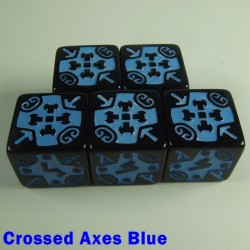 Viking Crossed Axes Blue 16mm D6 - Set of 5