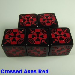 Viking Crossed Axes Red 16mm D6 - Set of 5