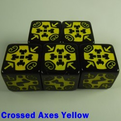 Viking Crossed Axes Yellow 16mm D6 - Set of 5