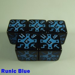 Viking Runic Blue 16mm D6 - Set of 5