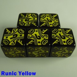 Viking Runic Yellow 16mm D6 - Set of 5