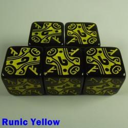 Viking Runic Yellow 16mm D6 - Set of 5