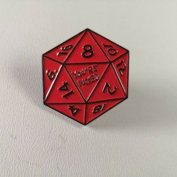 D&D D20 Red Nat 1 Metal Enamel Pin Badge